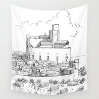 castle Wall Tapestries featuring Castle by Mr.Willow