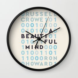 A Beautiful Mind, Russell Crowe, Ron Howard, John Nash, Jennifer Connelly, alternative movie poster, binary numbers Wall Clock