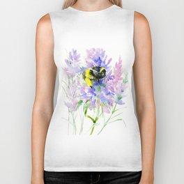 Bumblebee and Lavender Flowers, nature bee honey making decor Biker Tank