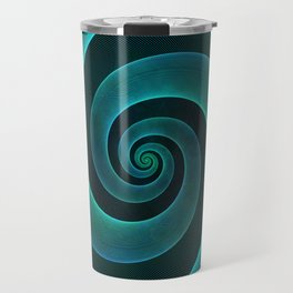 Magical Teal Green Spiral Design Travel Mug