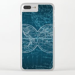 Antique Navigation World Map in Turquoise and White Clear iPhone Case