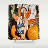 turkey Shower Curtains featuring Turkey Timer by IowaShots