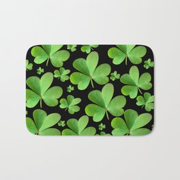 Clovers on Black Bath Mat