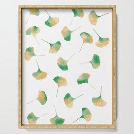 Ginkgo biloba leaves white Serving Tray