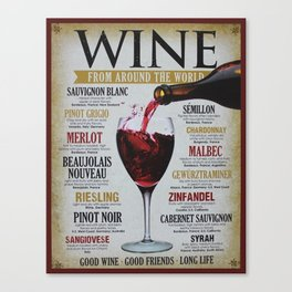 Vintage Wines from around the world Wine Advertisement Wall Art Canvas Print