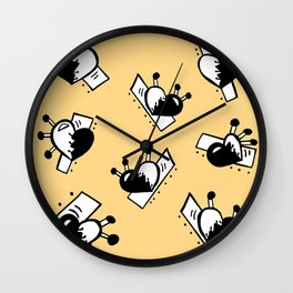 Hearts with Stitches - Black with Soft Mustard Wall Clock