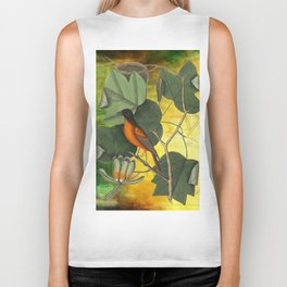 Baltimore Oriole on Tulip Tree, Vintage Natural History and Botanical Biker Tank