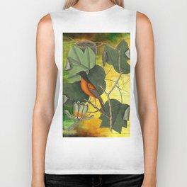 Baltimore Oriole on Tulip Tree, Vintage Natural History and Botanical Biker Tank