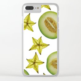 Melon and Starfruit pattern Design White Clear iPhone Case