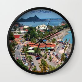 Colorful island and city scenes of Sint Maarten - St. Martin Wall Clock