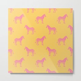 Zebra Pattern in Pink and Yellow Metal Print