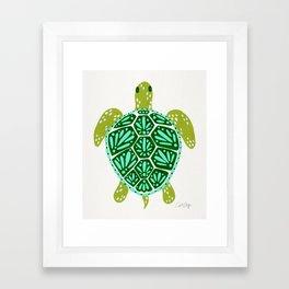 Sea Turtle – Green Palette Framed Art Print