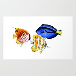 Coral Fish, tropical fish artwork, coral sea world Art Print