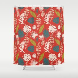 Moody Tropical Flora Firebrick Shower Curtain