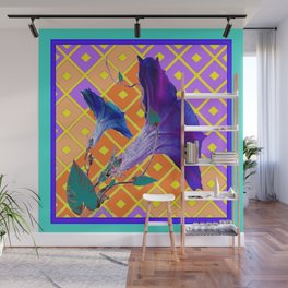 Aqua Purple Gold Morning Glories Wall Mural