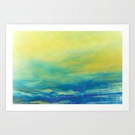 YELLOW & BLUE TOUCHING #1 #abstract #art #society6 Art Print