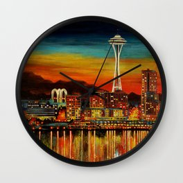 Seattle from Alki Wall Clock