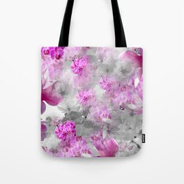 CHERRY BLOSSOMS ORCHIDS AND MAGNOLIA IMPRESSIONS IN PINK GRAY AND WHITE Tote Bag