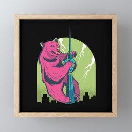 Fernsehturm Berlin with Berlin Bear Fun Framed Mini Art Print