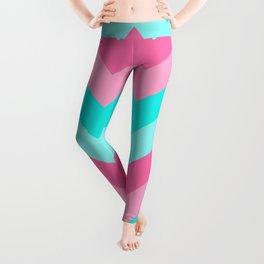 Hot Pink Turquoise Aqua Blue Chevron Zigzag Pattern Print Leggings