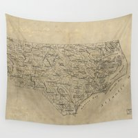 north carolina Wall Tapestries featuring Vintage Map of North Carolina (1893) by BravuraMedia