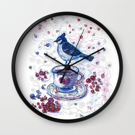 Winter Tea (Ble Jay) Wall Clock