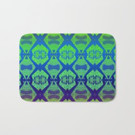African Vintage Fabric Green Tone Gradient Bath Mat