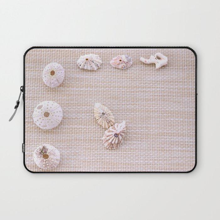 Urchins and seashells nautical design on textured background. Laptop Sleeve