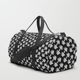 Dumbbellicious inverted / Black and white dumbbell pattern Duffle Bag