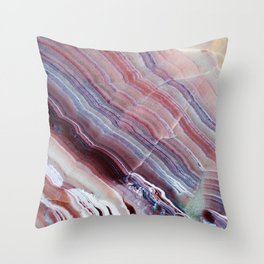 Purple & Pink Striped Agate Geode Quartz Slab Throw Pillow