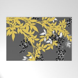 TREE BRANCHES YELLOW GRAY  AND BLACK LEAVES AND BERRIES Welcome Mat