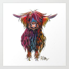 Scottish Highland Cow ' WiNSToN ' by Shirley MacArthur Art Print