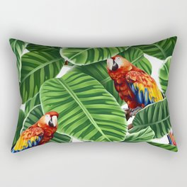tropical leaves macaw pattern Rectangular Pillow