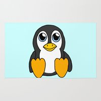 penguin Area & Throw Rugs featuring Penguin by BlackBlizzard