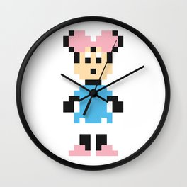 Minnie Mouse Pixel Character Wall Clock