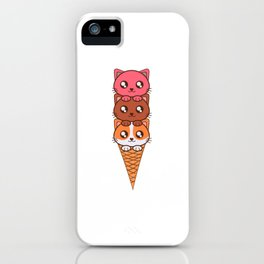 An Ice Cream Cat Theme T-shirt Design Sweets Cold Cream Creamy Iced Ice Sweet Bell Lollipop  iPhone Case
