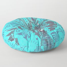 Roadside Wildflowers Bouquet, Summer Floral, Turquoise  Floor Pillow