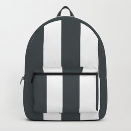 Outer space (Crayola) grey - solid color - white vertical lines pattern Backpack