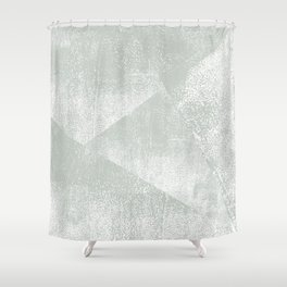 Gray Green and White Geometric Ink Texture Shower Curtain