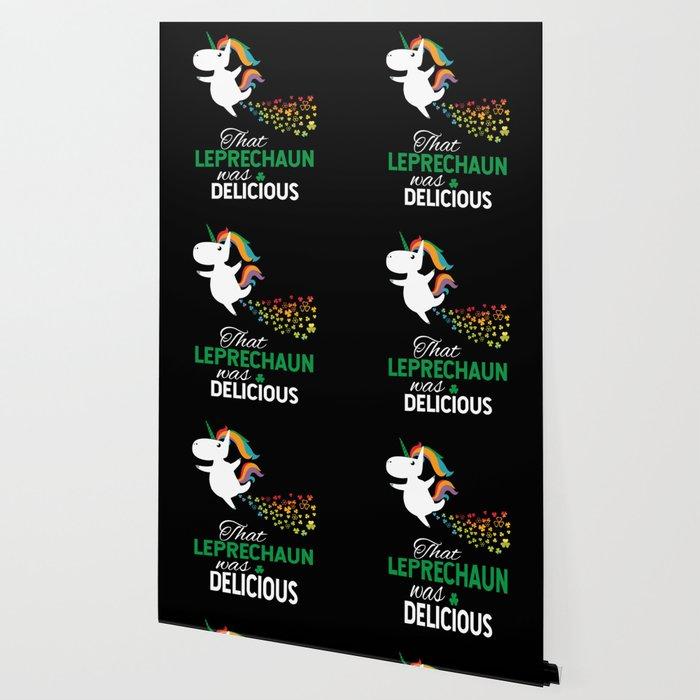 Unicorn Ate Leprechaun Rainbow Shamrock Wallpaper