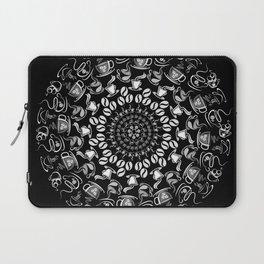 Coffee mandala white on black Laptop Sleeve