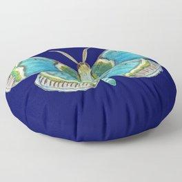Blue Moth on navy Floor Pillow