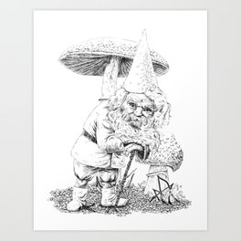 Knobby-caned gnome with mushrooms Art Print