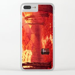 Tardis Autumn Tree Forest Clear iPhone Case