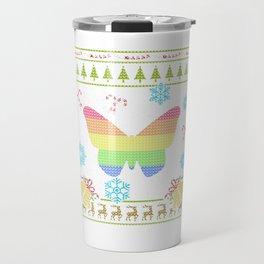 LGBT Rainbow Flag Butterfly Christmas Ugly Shirt Sweater Travel Mug