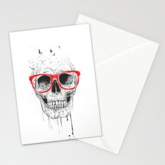 Skull with red glasses Stationery Cards