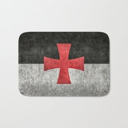 Knights Templar Flag in Super Grunge Bath Mat