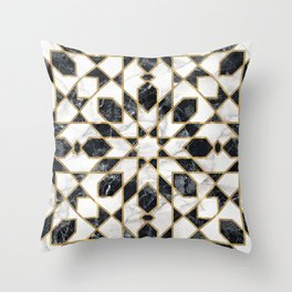 Black and white marble Moroccan mosaic Throw Pillow