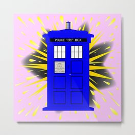British Police Box With Abstract Explosion Metal Print