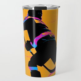 He Shoots! - Hockey Player Travel Mug
